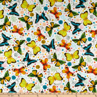 QT Fabrics  Fly Free Tossed Butterflies White