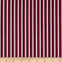 QT Fabrics  Red White & Blue Stripe Red/Navy