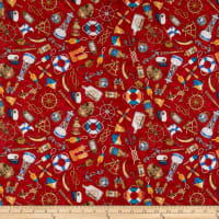 QT Fabrics  Smooth Sailing Nautical Toss Red