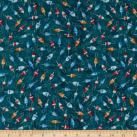 QT Fabrics  Smooth Sailing Buoys Dark Teal