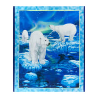 "QT Fabrics  Northern Lights Polar Bear Panel 36"" Blue"