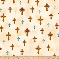 QT Fabrics  Amazing Grace Crosses Cream