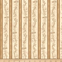 QT Fabrics  Amazing Grace Decorative Scroll Stripe Tan