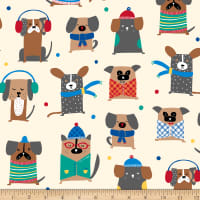QT Fabrics Ink & Arrow Chilly Dogs Winter Dogs Cream