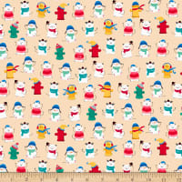 QT Fabrics Ink & Arrow Chilly Dogs Winter Dogs & Fire Hydrants Cream