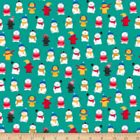 QT Fabrics Ink & Arrow Chilly Dogs Winter Dogs & Fire Hydrants Green