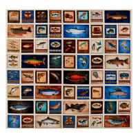 "QT Fabrics Fresh Catch Fishing Patches 36"" Panel Cream"