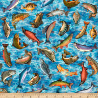 QT Fabrics Fresh Catch Fish Toss Blue