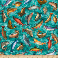 QT Fabrics Fresh Catch Fish Toss Turquoise