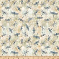 QT Fabrics Fresh Catch Dragonflies Cream