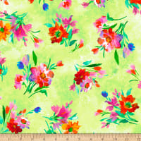 QT Fabrics Full Bloom Spaced Floral Lime