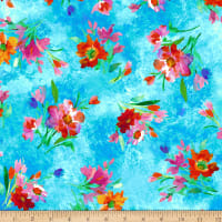 QT Fabrics Full Bloom Spaced Floral Turquoise