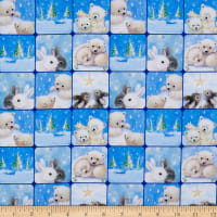 QT Fabrics Woodland Cuties Woodland Cuties Checkerboard Blue