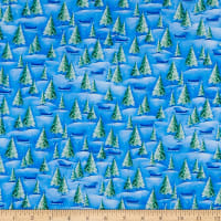 QT Fabrics Woodland Cuties Pine Trees Blue
