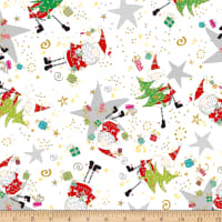 QT Fabrics Happy Christmas Santa & Star Toss White