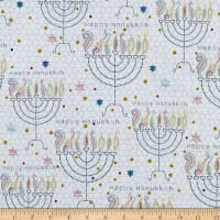 QT Fabrics Happy Hanukkah Menorahs White