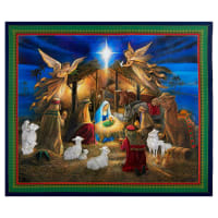 "QT Fabrics Holy Night Nativity 36"" Panel Navy"