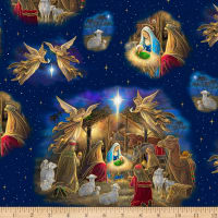 QT Fabrics Holy Night Nativity Vignette Navy