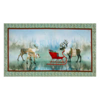 "QT Fabrics Lake Caribou Nordic Deer 24"" Panel Multi"