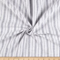 Linen Cotton Blend Double Pin Stripe Navy