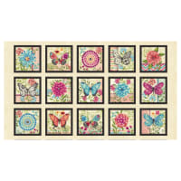 "Butterfly Dream Butterfly Blocks 24"" Panel Cream"