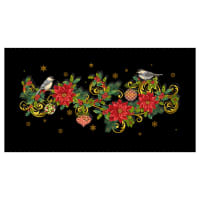 "Christmas Joy Table Runner 24"" Panel Black With Metallic"