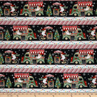 Yuletide Cheer Border Stripe Black/ Red