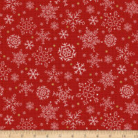 Snowy Magic Snowflakes Red