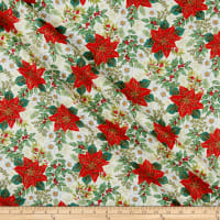 Andover/Makower UK Deck the Halls Large Poinsettia Cream