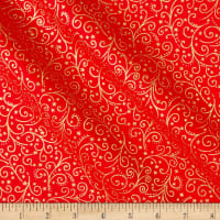 Andover/Makower UK Twelve Days Scroll Red