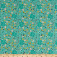 Andover/Makower UK A Walk in the Park Flowers Teal