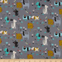 Andover/Makower UK A Walk in the Park Dogs Grey