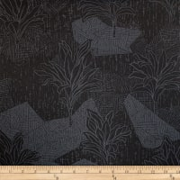 Trans-Pacific Textiles Hawaiian Ti Leaf Tribal Black
