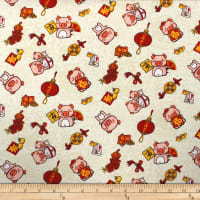 Trans-Pacific Textiles Oriental Year of the Pig Beige