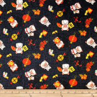 Trans-Pacific Textiles Oriental Year of the Pig Black