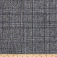 Telio Wool Plaid Coating Grey Blue