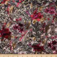 Telio Velvet Devoree Woven Burnout Floral Print Red/Fuchsia