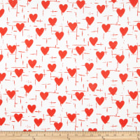 Double Brushed Poly Jersey Knit Hearts Red