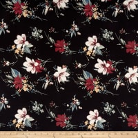 Double Brushed Poly Jersey Knit Floral Black/Red