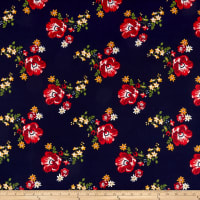 Double Brushed Poly Jersey Knit Floral Navy/Red
