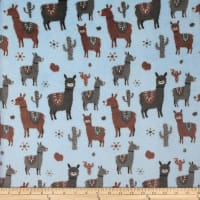 Plush Fleece Llamas Blue