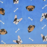 Plush Fleece Dog Bones Blue