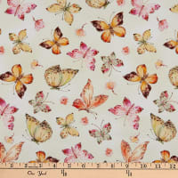 Timeless Treasures Digital Floral Study Allover Butterflies Cream