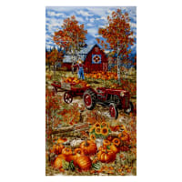 "Timeless Treasures Pumpkin Patch 24"" Tractor Panel Multi"