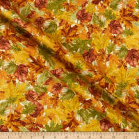 Timeless Treasures Metallic Fall Foliage 2 Leaves On Wood Spice