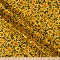 Timeless Treasures Metallic Fall Foliage 2 Blackeyed Susan Green