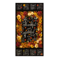 "Timeless Treasures Metallic Thankful & Grateful 24"" Panel Black"