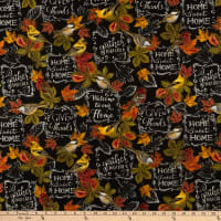 Timeless Treasures Metallic Thankful & Grateful Give Thanks Chalkboard Black