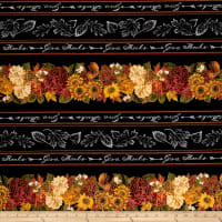 Timeless Treasures Metallic Thankful & Grateful Give Thanks Chalkboard Stripe Black