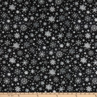 Timeless Treasures Let It Snow Chalk Snowflakes Black